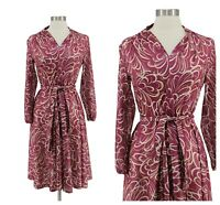 Vintage 80s Mauve Printed Belted Fit and Flare Modest Secretary Dress Size M