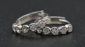 JM157 14K Solid White Round Created Diamond Huggie Hoop Earrings