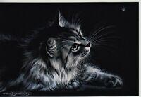 CAT ART Cute Tabby Kitty Night Moth Butterfly by Garmashova NEW Russian Postcard