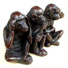 """Three Wise Monkeys"" No See Speak Hear Evil Resin figurine Amulet TRUTHS OF MAN"