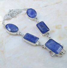 "Handmade Blue Sapphire Gemstone 925 Sterling Silver Necklace 19.25"" #AA764"