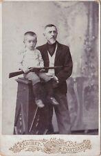 1916 CP Cute little boy w/ riffle gun Grandpa man fashion Russian antique photo
