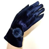 GUANTES azules mujer terciopelo elegante invierno pon pon cálido luvas gloves G3