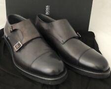 NIB $495 Boss Hugo Boss Aspio Mens Dark Gray Leather Shoes 9 US Italy 50298471