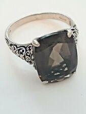 Vintage Sterling Silver 925 Openwork Floral Filigree w/ Smoky Topaz Ring