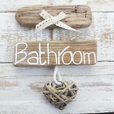 CHIC SHABBY DRIFTWOOD WOODEN BATHROOM WC TOILET THE LOO HEART DOOR PLAQUE SIGN