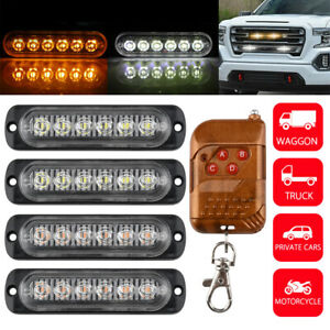 4 6LED Car Truck Emergency Lamps Hazard Flash Strobe Warning Lights Amber/White
