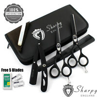 "5.5"" PROFESSIONAL SALON HAIRDRESSING HAIR CUTTING THINNING BARBER SCISSORS + KIT"