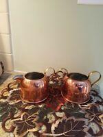 Vintage Copper Creamer And Sugar Bowl