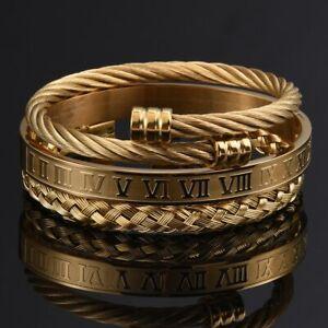 Mens Gold Roman Bracelet Set Luxury 3 Pcs Bangle Stainless Steel Jewellery