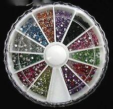 Nagel Kunst Edelsteine 2000 1,5 mm Runde gemischten Farben in kleinen Karussell