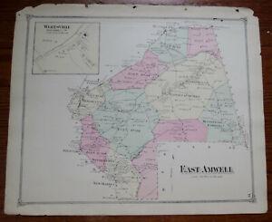 1873 MAP of EAST AMWELL - HUNTERDON CO NJ - FW BEERS