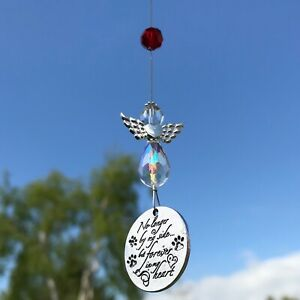 New Hanging Sun Catcher Pet Loss Memorial Angel Mobile Red, No longer by my side