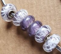 Lavender Purple White Swirl Line Zig Zag Single Core European Murano Glass Beads