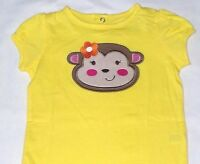 Jumping Beans Girls 3 6 9 months Yellow Monkey Bodysuit New