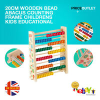Wooden Bead Abacus Counting Frame 20cm Childrens Kids Educational Maths Toys UK
