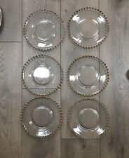 Clear Glass Charger  8 Inch Dinner Plate with Beaded Rim Gold - Set of 6