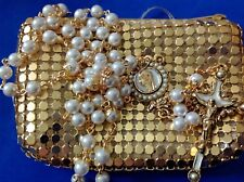 Custom Design PEARL Rosary Gold Plated Hand Crafted Bead Caps 6mm + Rosary Case