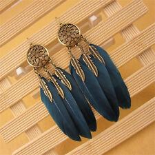 Feather&Leaf Tassel Bronze Dangle Earrings Women's Vintage Bohemian Boho Style