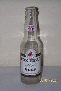 "Vintage 6 oz. Fox Head ""400"" Clear Glass Beer Bottle/Waukesha WI - Duraglas 1953"