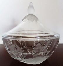 """VINTAGE FROSTED & CLEAR GLASS CANDY BOWL &  LID ROSES SHAPED EMBOSSED 6""""D  6""""H"""