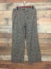 BCBG Max Azria Dress Pants Brown with Blue Flowers Wide Leg Pants Size 10