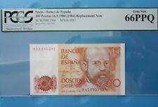 1980 Spain 200 Pesetas PCGS66 PPQ <P-156r> Replacement Note 9A