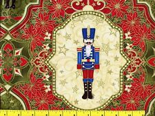 Metallic Gold Accented Toy Soldiers Christmas Quilting Fabric by Yard #3204