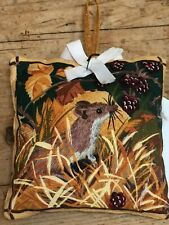 "SMALL 3 "" HANGING Lavender Sachet - TWO SIDES - FIELD MOUSE AND BADGER PRINTS"