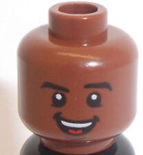 Lego Red Brown Head x 1 Dual Sided Smile & Snarl for Minifigure Cyborg