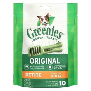 Greenies Original Petite Size 10 count 6 oz | Dental Chew Treats for Dogs