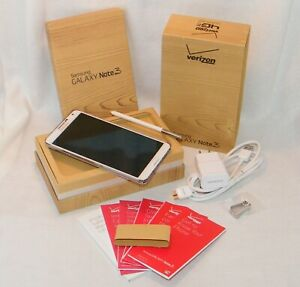 White Samsung Galaxy Note 3 III 32GB SM-N900 Verizon / Unlocked w/ Power Supply