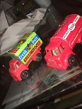 Wells Brimtoy Pocketoys Fruit Truck And Oil tinplate plastic friction