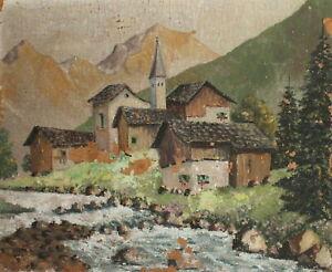 Vintage impressionist oil painting landscape river village