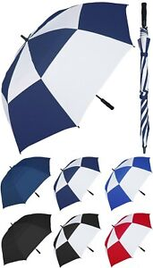 "Huge 68"" Arc Auto Windbuster Fiberglass Golf Umbrella - RainStoppers Rain/Sun UV"