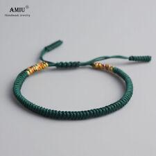 Bracelet en macramé en tissu vert sapin et multicolore ajustable tibétain bohème