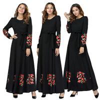 Women Embroidery Black Abaya Muslim Maxi Dress Islamic Jilbab Dubai Kaftan Robe