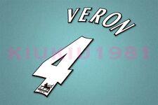 Manchester United Veron #4 PREMIER LEAGUE 97-06 White Name/Number Set