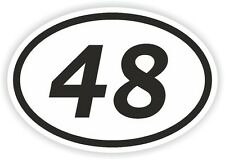 48 FORTY-EIGHT NUMBER OVAL STICKER bumper decal motocross motorcycle Aufkleber
