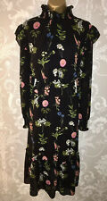 TED BAKER SIMARRA Size 4 14 Black Floral FLORENCE Midi Long Sleeve Ruffle Dress