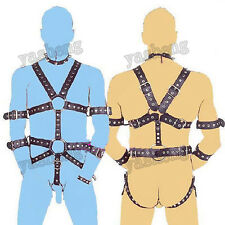 Quality PU Leather Men's Body Harness Restraint set Adjustable Straps Male