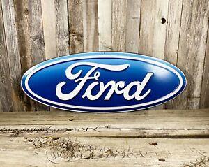 """Ford Blue 20"""" Oval Logo Metal Tin Sign Car Vintage Auto Emblem Garage Man Cave"""