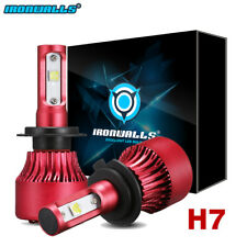 IRONWALLS H7 1280W 192000LM LED Headlight Kit High Low Beam Bulbs CREE 6500K