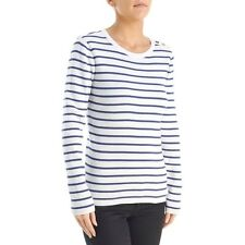 ANNE KLEIN Striped Crewneck Sweater With Button Acc XL NWT Weimaraner Rescue