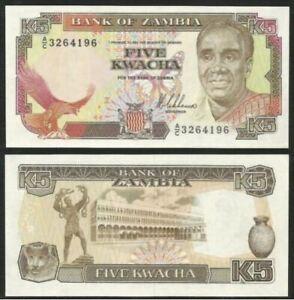 Zambia Banknote 5 Kwacha 1989 (UNC) 全新 赞比亚 5克瓦查 1989年