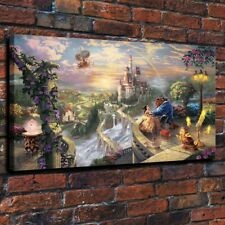 Not Framed Canvas Print Home Thomas Kinkade Beauty and the Beast falling in love