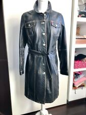 MISS SIXTY Long Leather Jacket Size L  - Guenine Leather!