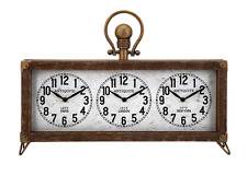 Vintage Style World Time Wood/Glass Desk Office Table Clock,22'' x 16''H.