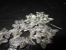 25 Butterfly Beads - silver tone
