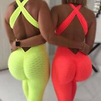 UK Women Sports Anti Cellulite Jumpsuit Yoga Pants Leggings Fitness Workout Y277